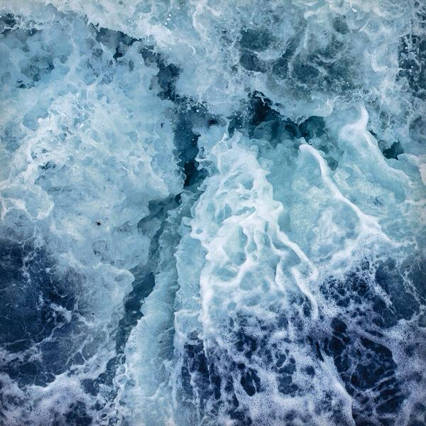 blue, crack, waves, ocean, foam, sea foam, calm, ombre